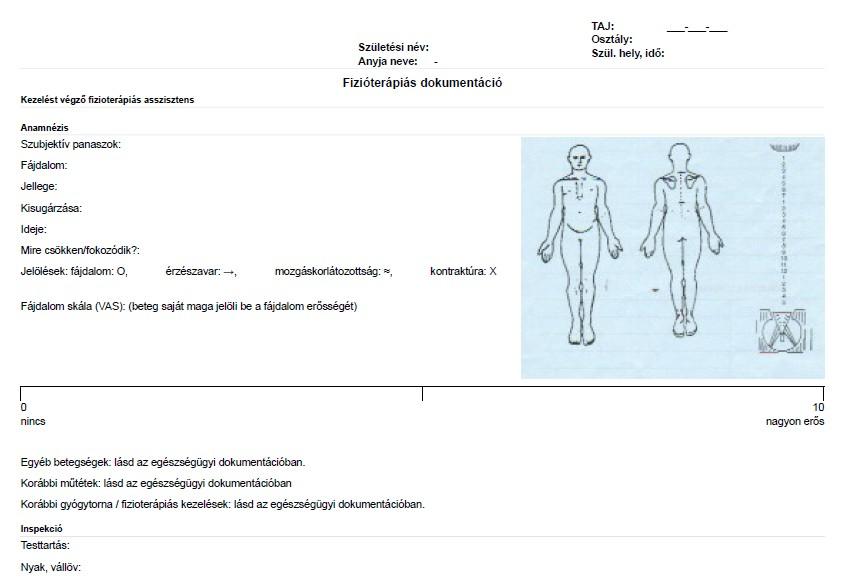 Fizióterápiás dokumentum